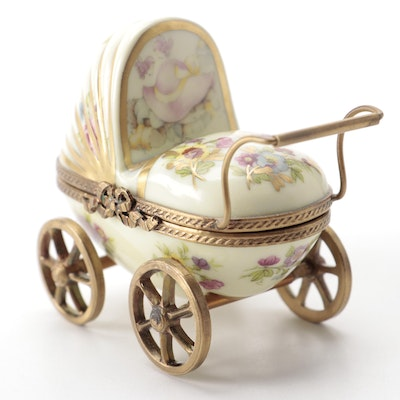 Rochard Baby Buggy Porcelain Limoges Box
