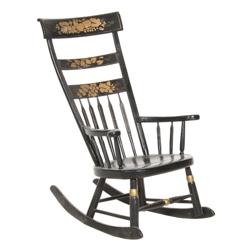 Black with Gold Stencil Hitchcock Style Wooden Rocking Chair, Early-Mid 20th C.