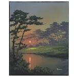 "Douglas ""Bumo"" Johnpeer Landscape Oil Painting ""River Glow"", 2020"