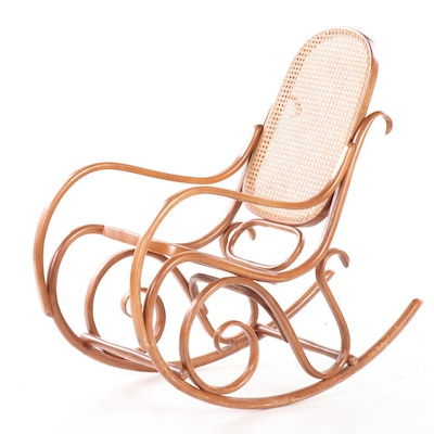 Thonet Bent Wood Beech and Cane Rocking Chair, 20th Century