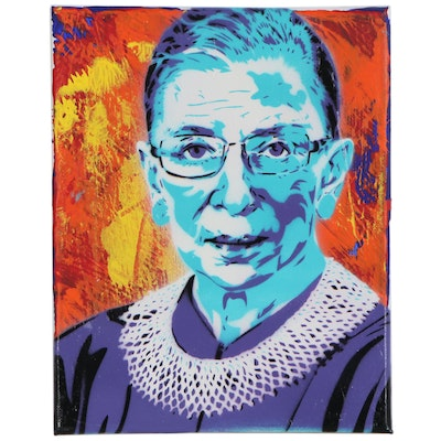 Planet Giggles Acrylic Stencil Painting of Ruth Bader Ginsburg, 21st Century