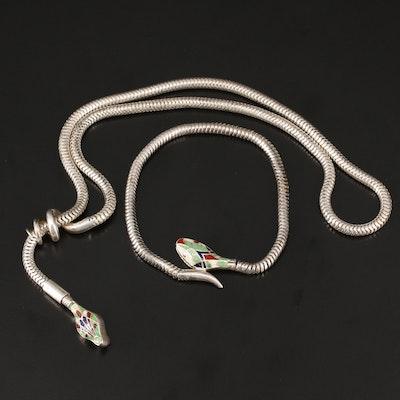 Vintage Enamel Snake Necklace and Bracelet
