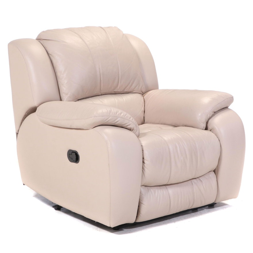 Contemporary Beige-Leather Upholstered Pillow Back Relcining Armchair