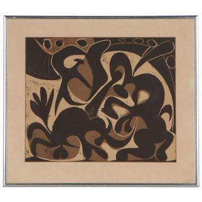 """Lithograph after Pablo Picasso Linoleum Cut """"Picador"""""""