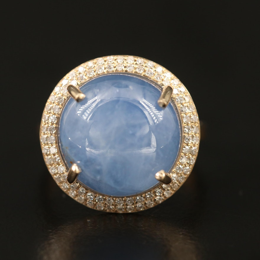 14K 16.36 CTW Star Sapphire and Diamond Halo Ring with GIA Report
