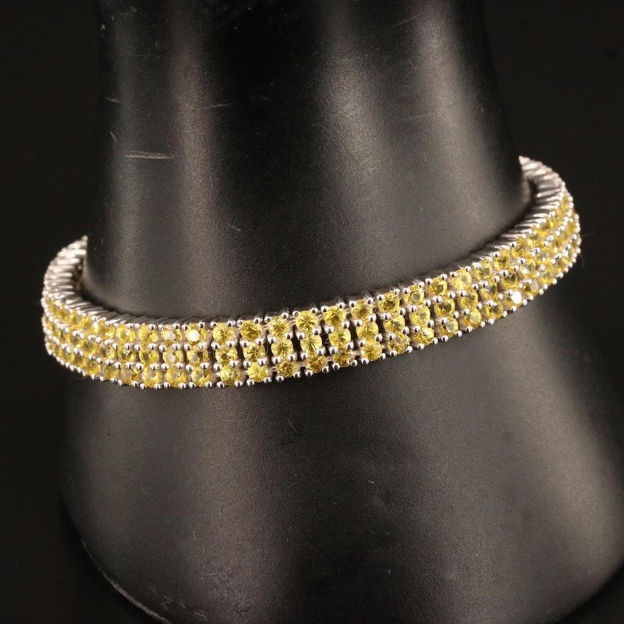 Sterling Silver Sapphire Three Row Link Bracelet