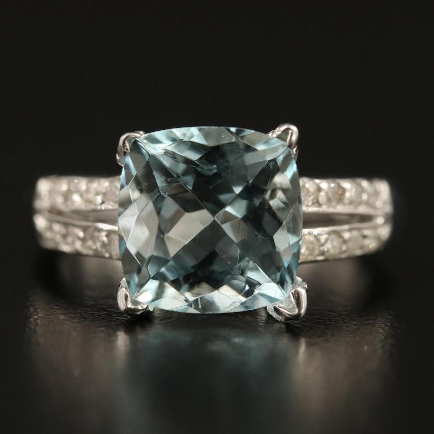 14K 4.70 CT Aquamarine and Diamond Ring