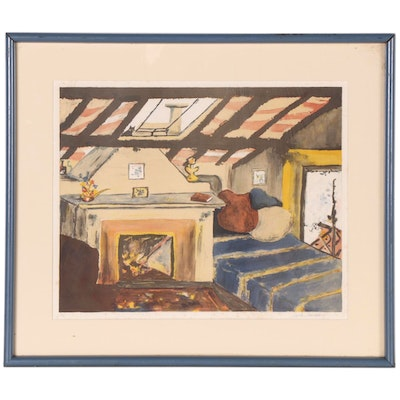 Sarah Churchill Lithograph of Interior Scene, Mid to Late 20th Century