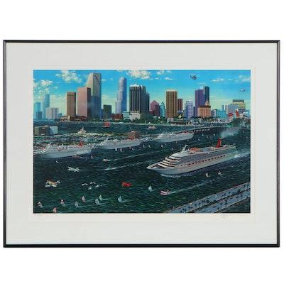"""Alexander Chen Offset Lithograph """"Miami Cruising,"""" circa 1990s"""