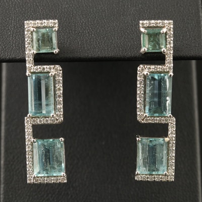 14K Geometric Aquamarine and Diamond Drop Earrings