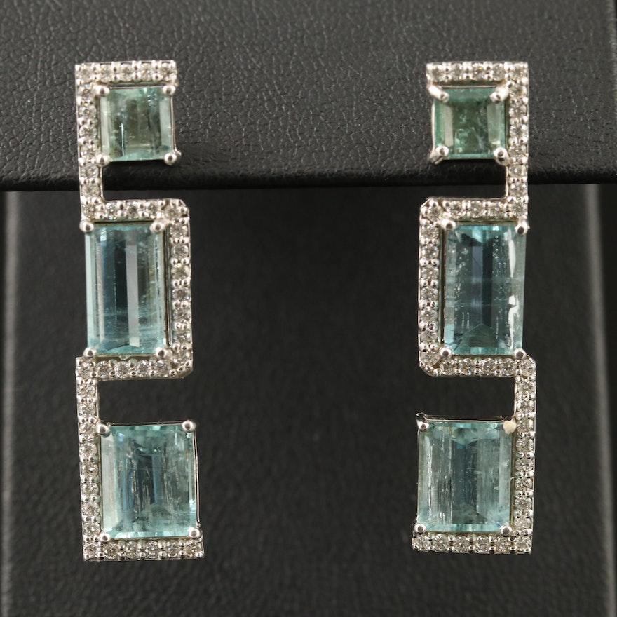 14K Geometric Aquamarine and Diamond Drop Earrings