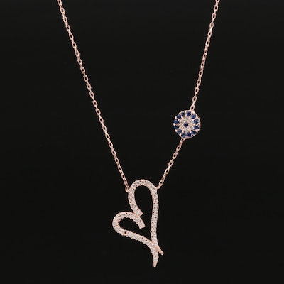 Sterling Silver Spinel and Cubic Zirconia Heart Pendant Necklace