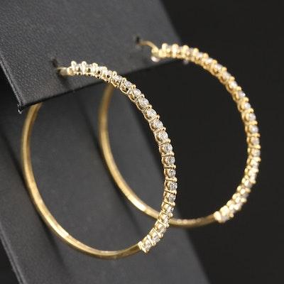 10K 1.00 CTW Diamond Hoop Earrings