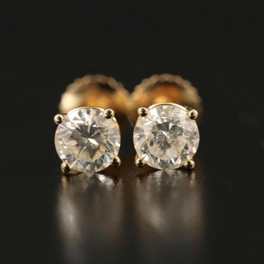 14K 0.89 CTW Diamond Solitaire Earrings