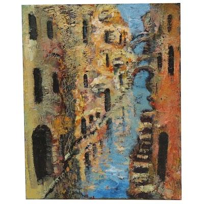 "Leif Janek Acrylic Painting ""Venice 2"""