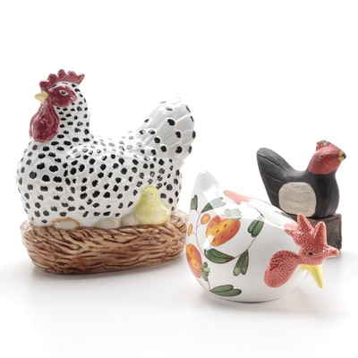 Ceramic Chicken Figurines with Folk Art Style Wooden Doorstop
