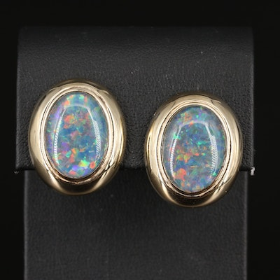 14K Opal Triplet Button Earrings