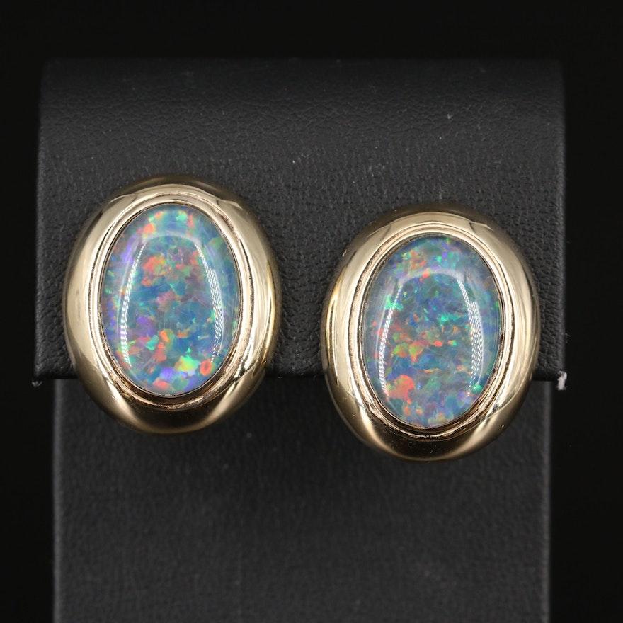 14K Opal Triplet Button Earrings