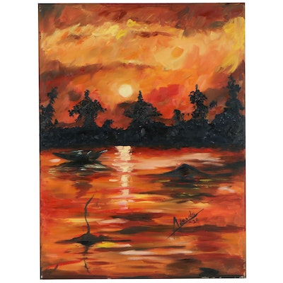 "Adedotun Adesida Expressionist Style Oil Painting ""Sunset,"" 2020"