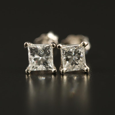 14K 1.11 CTW Diamond Solitaire Earrings with GIA eReport