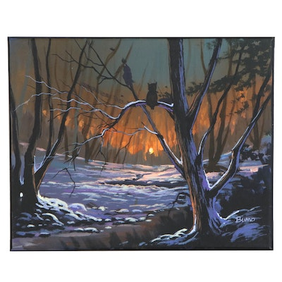 "Douglas ""Bumo"" Johnpeer Landscape Oil Painting ""Snow Owls,"" 2020"
