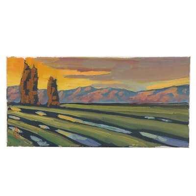 William Hawkins Oil Painting of Sunset Mountain Landscape