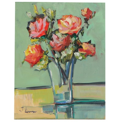 José Lima Floral Still Life Oil Painting of Roses in Vase