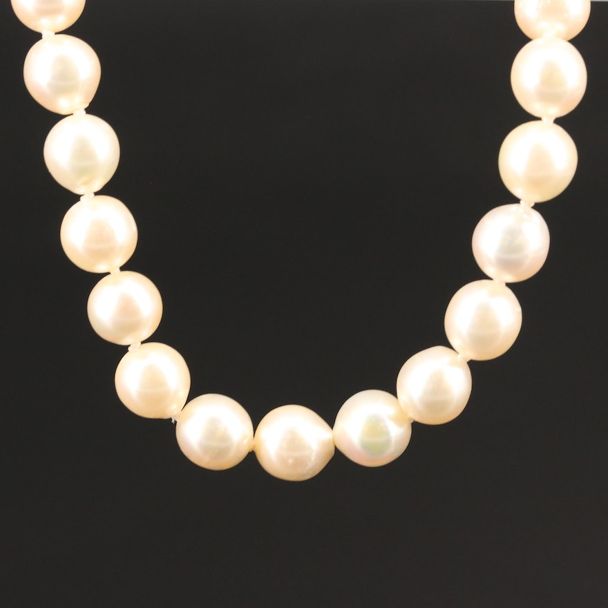 Vintage 14K Pearl Strand Necklace with Diamond Grape Motif Clasp