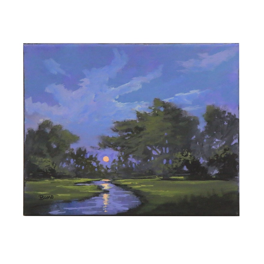 "Douglas ""Bumo"" Johnpeer Landscape Oil Painting ""Marsh Oaks"", 2020"