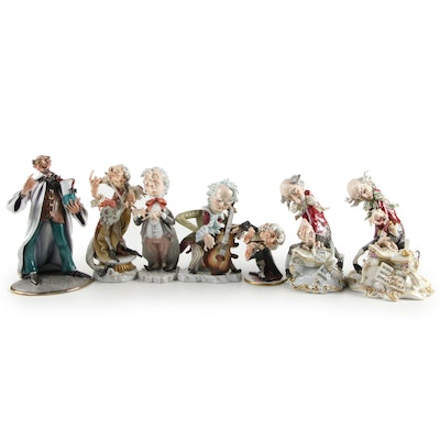 Capodimonte Porcelain Musicians  with Other Figurines, Mid to Late 20th Century
