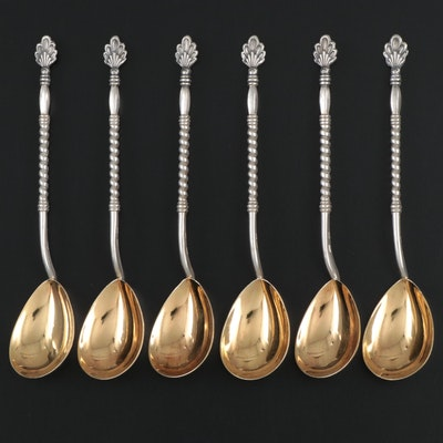 Soviet Russian 875 Silver Teaspoons, Mid to Late 20th Century