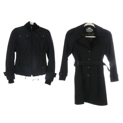 Johnston & Murphy Shadow Check Coat and Elie Tahari Rabbit Fur Trim Hood Jacket