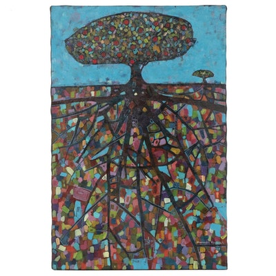 "Alexandra Kruglyak-Zecevic Acrylic Painting ""Tree of Life"", 2008"