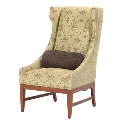 Vanguard Furniture Upholstered Walnut Wingback Chair