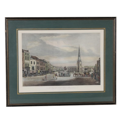 """Etching After T. Hollins and J.C. Stadler """"A View of High Street, Birmingham"""""""