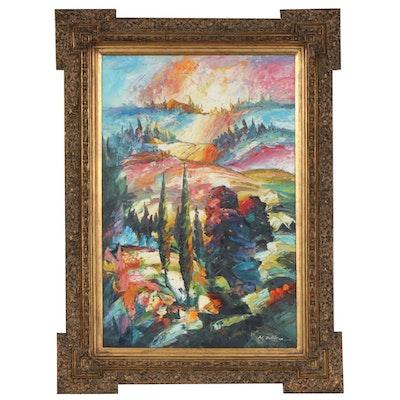 M. Erickson Sunrise Landscape Oil Painting, Early 21st Century