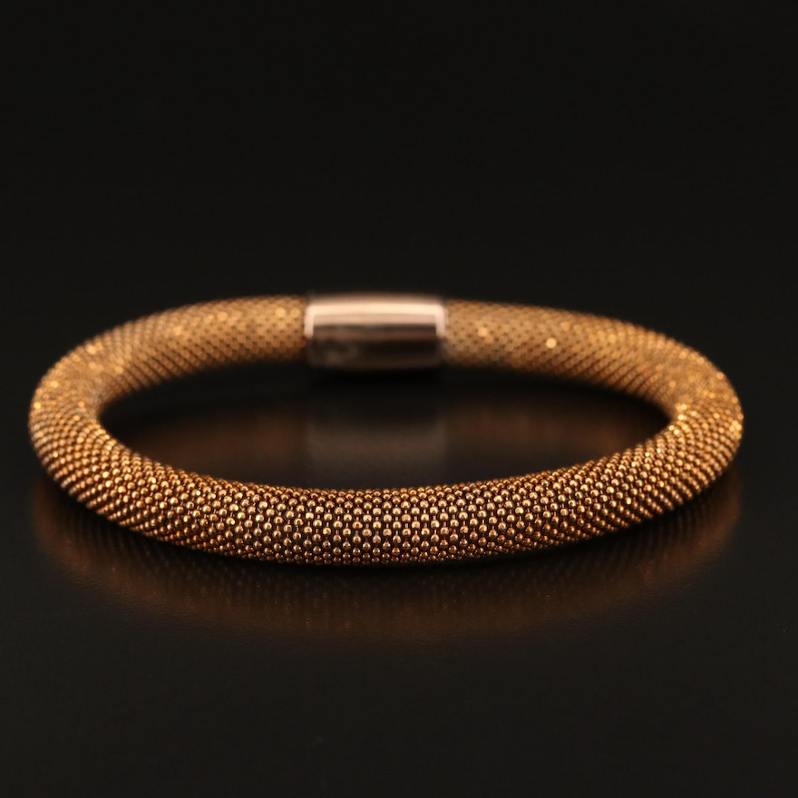 Sterling Silver Flexible Bangle with Bead Chain