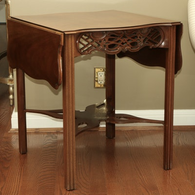 Baker Furniture Chippendale Style Drop Leaf Side Table