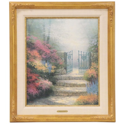 """Hand-Embellished Offset Lithograph After Thomas Kinkade """"Garden of Promise"""""""