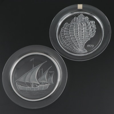 """Lalique """"Coquillage"""" and """"Nina"""" Frosted and Clear Crystal Collector Plates"""