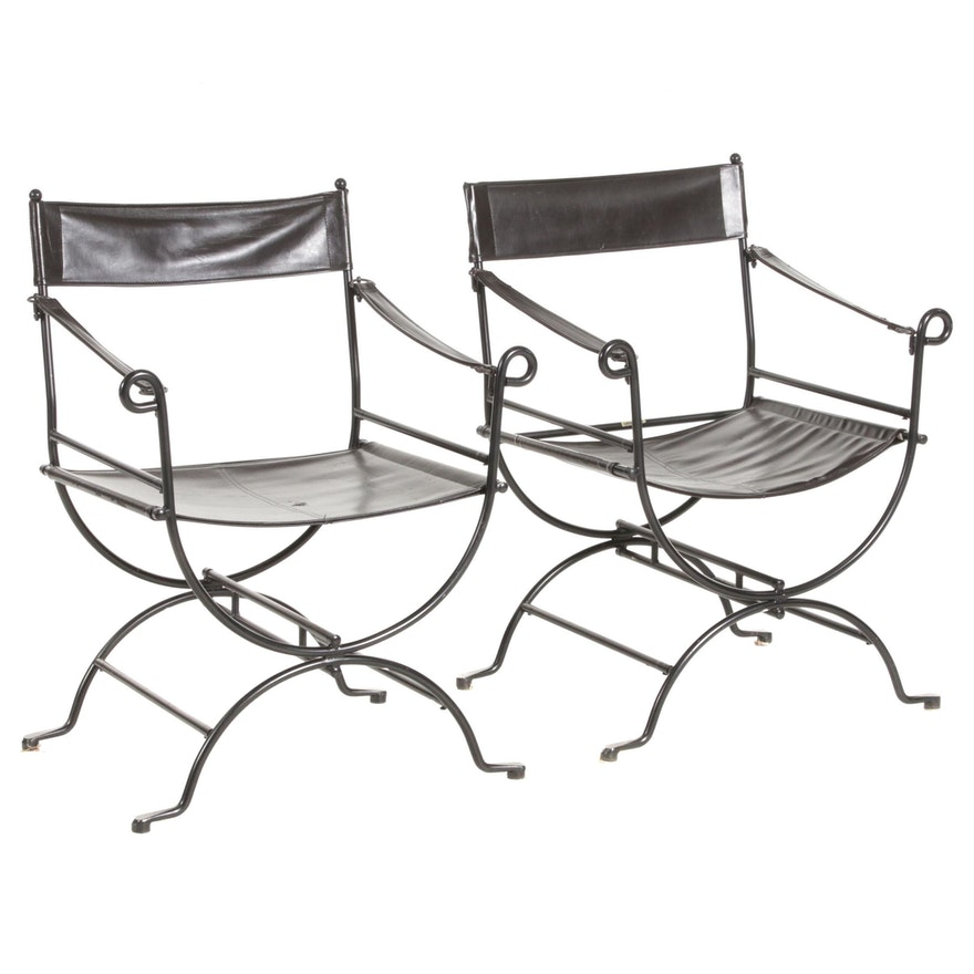 Metal Campaign Chairs with Bonded Leather Upholstery, Mid to Late 20th Century