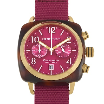 Briston Clubmaster Classic Acetate Gold Berry Dial Watch