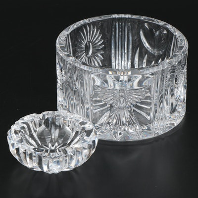 "Waterford Crystal ""Millennium"" Wine Bottle Coaster and Waterford Crystal Ashtray"