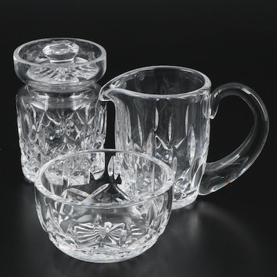 "Waterford Crystal ""Lismore"" Finger Bowl, Creamer and Sugar"