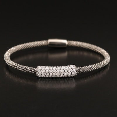 Sterling Silver Cubic Zirconia Flexible Bangle with Magnetic Clasp