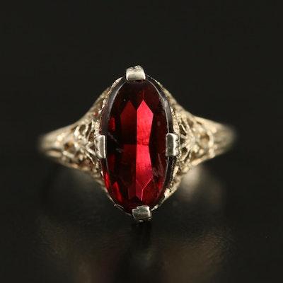 1930s 14K Garnet Openwork Ring