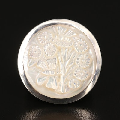 Laurent Léger 950 Carved Mother of Pearl Flower Cameo Ring