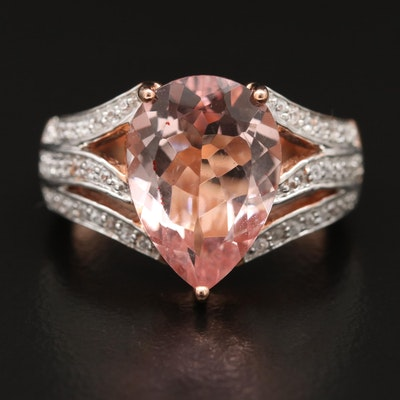 14K 4.00 CT Morganite and Zircon Ring