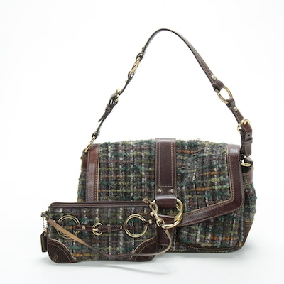 Coach Chelsea Shoulder Bag and Matching Wristlet in Tweed Bouclé