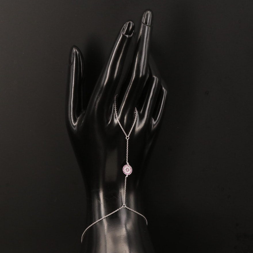 Sterling Silver Ruby and Cubic Zirconia Harem Bracelet